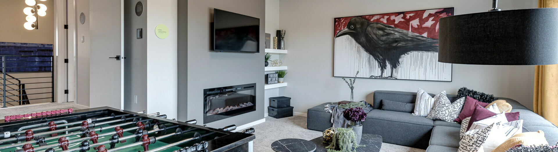 Bonus room in the Catalina showhome in the community of Kinglet by Big Lake in Edmonton, Alberta.