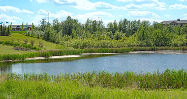 Storm water pond in the community of Maple Crest in Edmonton Alberta.